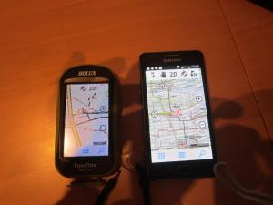 Twonav Spotiva und Twonav Android-App auf Smartphone